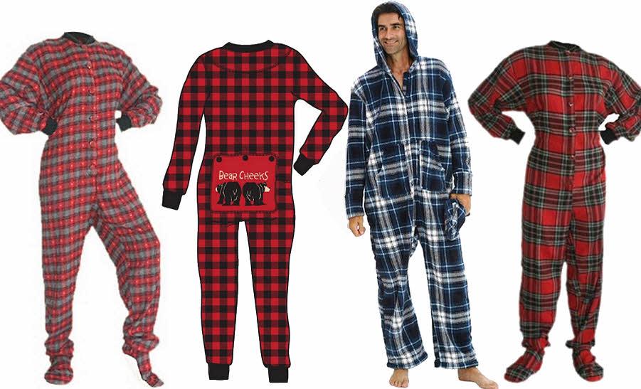 Plaid adult onesie union suit one-piece pajamas long-johns