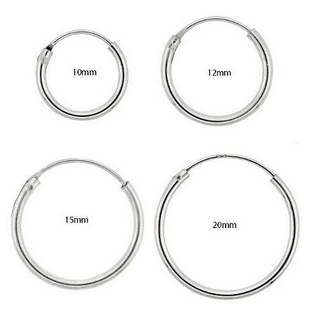 Small silver endless hoop earrings