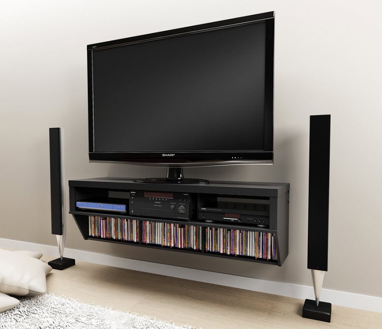 Wall-mounted media shelving