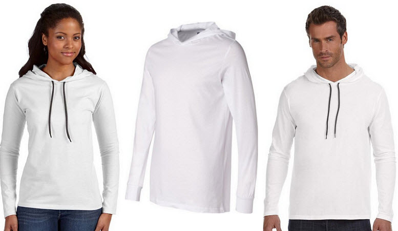 White long sleeve hooded t-shirt for men & women