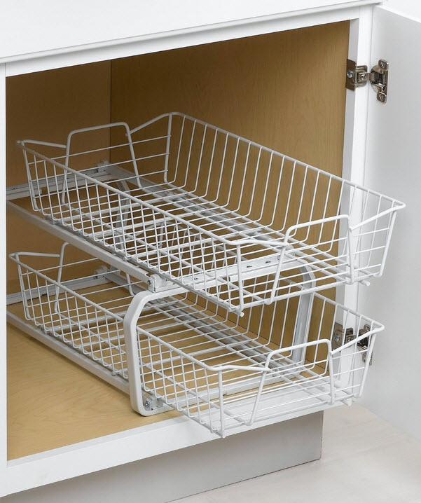 Wire basket cabinet drawers