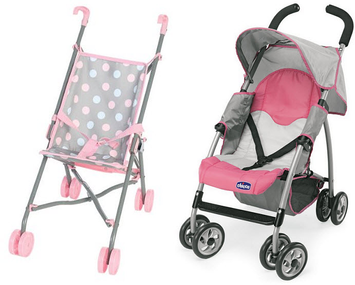 Pink folding doll stroller