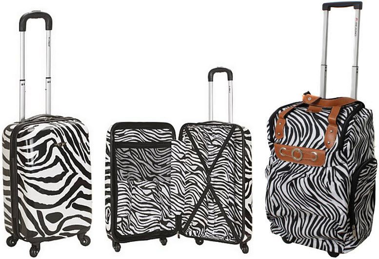 Zebra-print rolling luggage