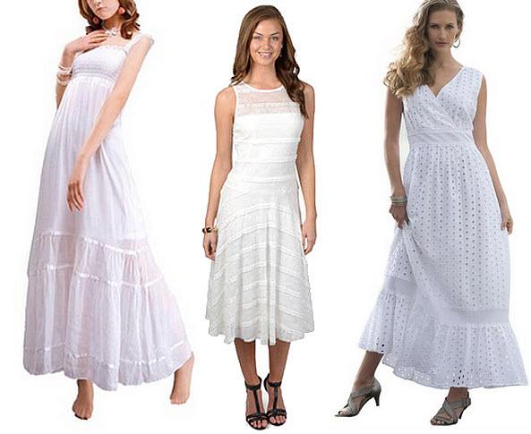 Womens long sleeveless white lace dress - 2