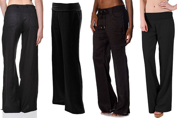 Black linen pants for women