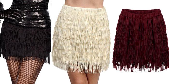 Flapper fringe mini skirt