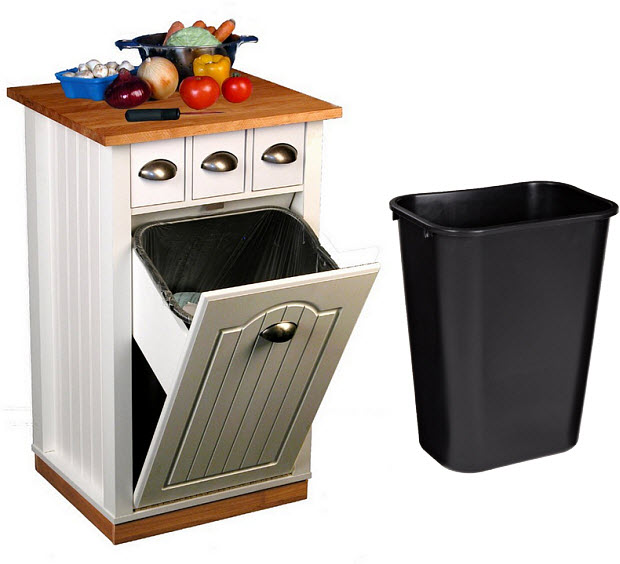 Kitchen island with trash can