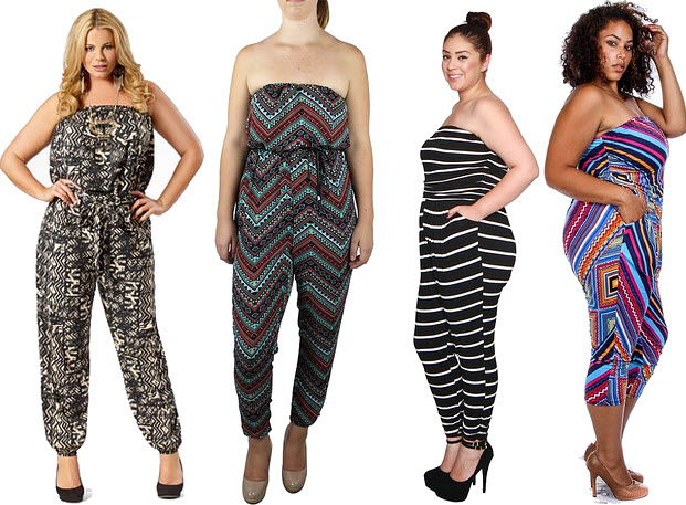 Plus-size strapless jumpsuit