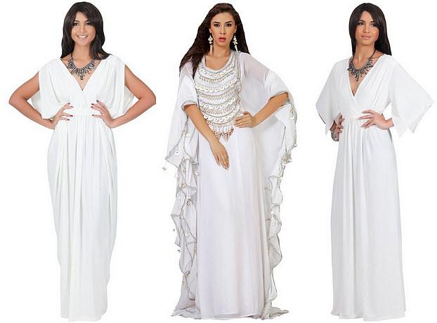 White kaftan maxi dress