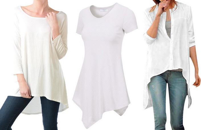 Womens white tunic top