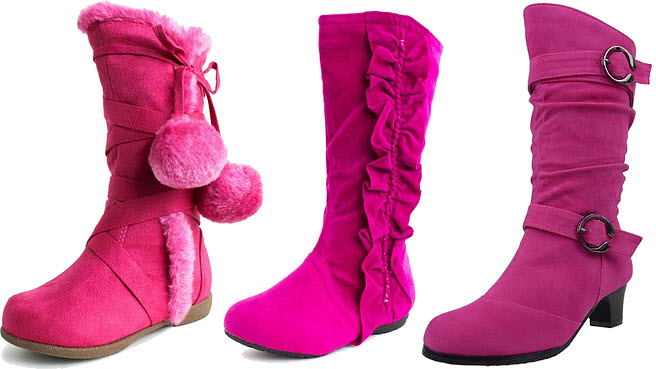 Girls pink faux-suede boots