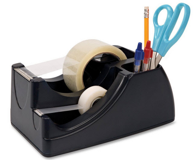 Weighted tape dispenser