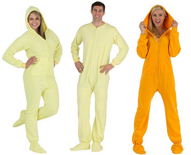 Yellow footed pajama onesies for adults
