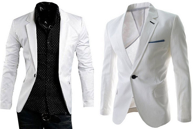 slim fit white suit jacket