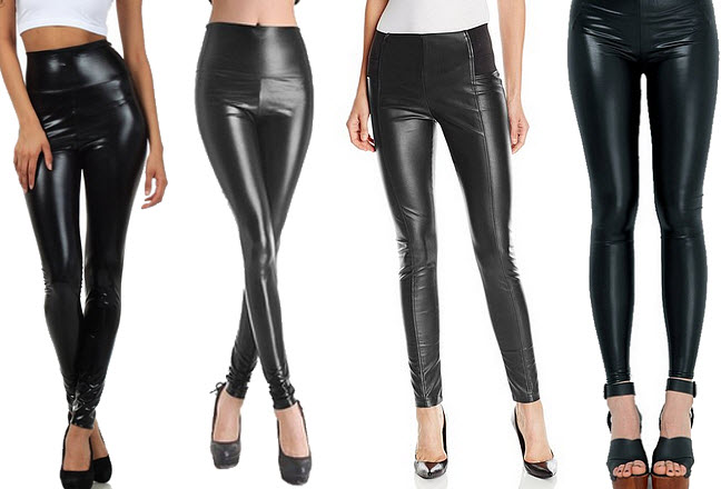 Womens black faux-leather leggings