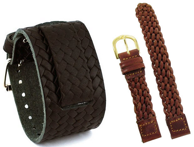 Braided leather watch band