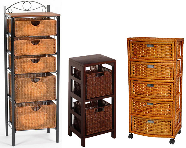 Shelving unit with wicker baskets