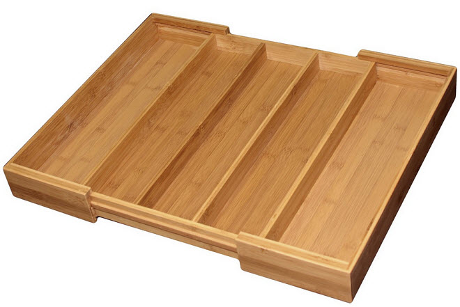 Bamboo expandable cutlery tray