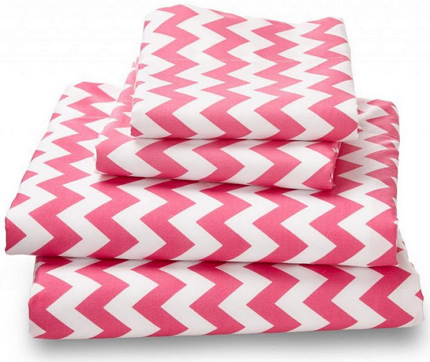 Pink chevron twin bedding