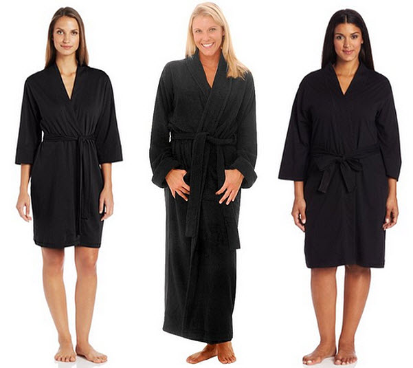 Womens black cotton robe