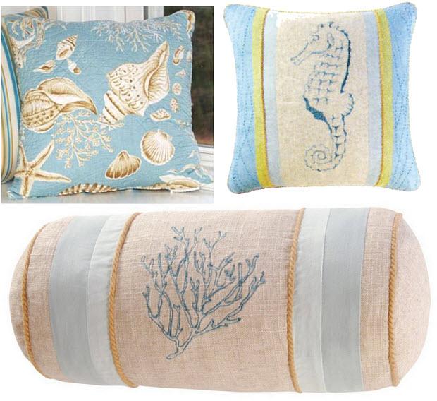 Beach-themed throw pillows