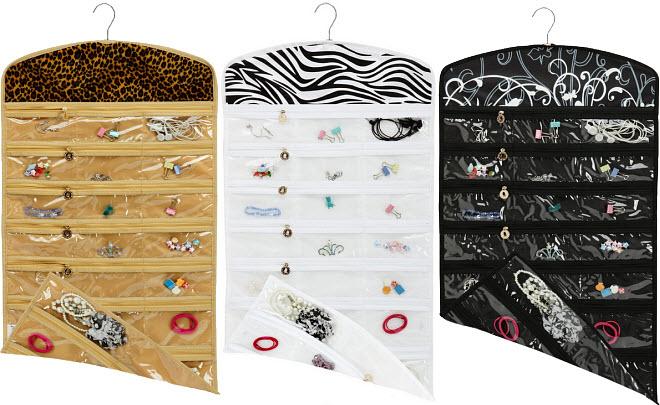 Hanging closet jewelry organizer