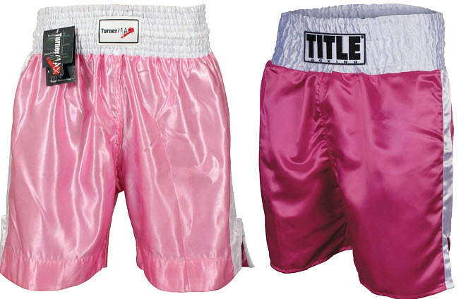 Pink boxing trunks