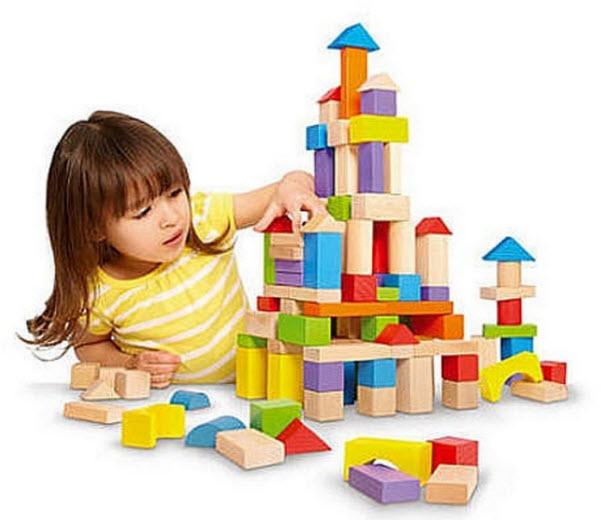 Kids wooden building blocks