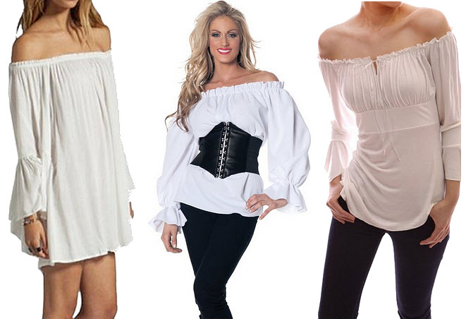 Womens white pirate blouse